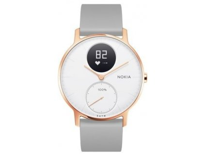 Nokia Steel HR (36mm) - Rose Gold w/ Grey Silicone wristband