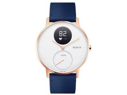 Nokia Steel HR (36mm) Rose Gold w/ Blue Leather  + Originálny silikónový remienok zadarmo!